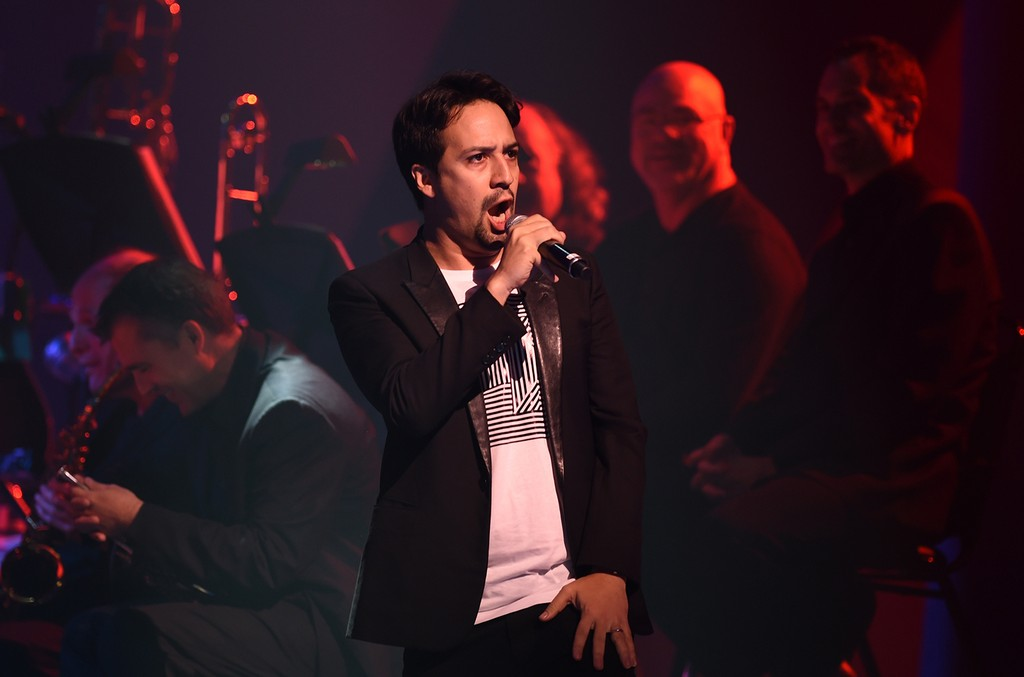 Lin-Manuel Miranda sings during the The Hillary Victory Fund Stronger Together Concert
