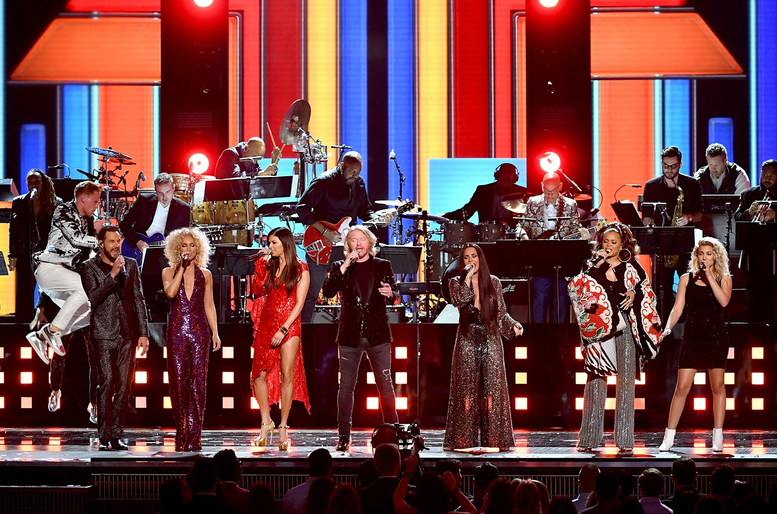 Jimi Westbrook, Kimberly Schlapman, Karen Fairchild, and Philip Sweet of Little Big Town, Demi Lovato, Andra Day, and Tori Kelly perform onstage during The 59th Grammy Awards at Staples Center on Feb. 12, 2017 in Los Angeles.