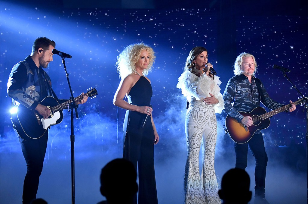 Jimi Westbrook, Kimberly Schlapman, Karen Fairchild and Philip Sweet of Little Big Town perform at the 2019 CMT Music Awards at Bridgestone Arena on June 5, 2019 in Nashville.