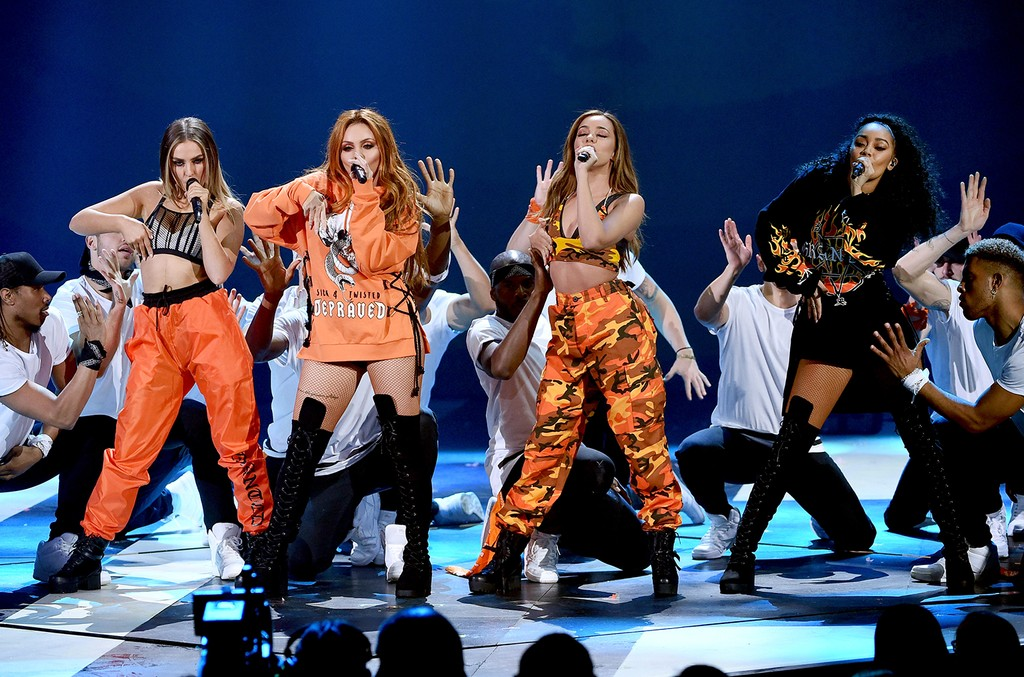 Little Mix performs onstage at Nickelodeon's 2017 Kids' Choice Awards at USC Galen Center on March 11, 2017 in Los Angeles.