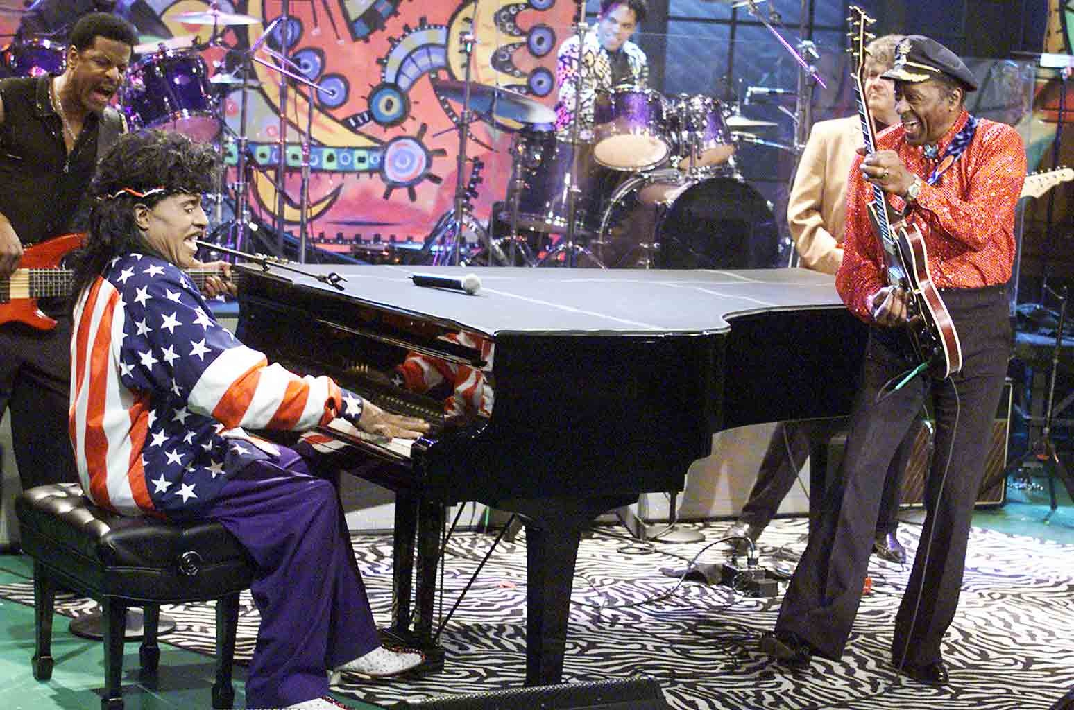 """Little Richard and Chuck Berry on """"The Tonight Show with Jay Leno"""" at the NBC Studios in Los Angeles on Jan. 24, 2002."""