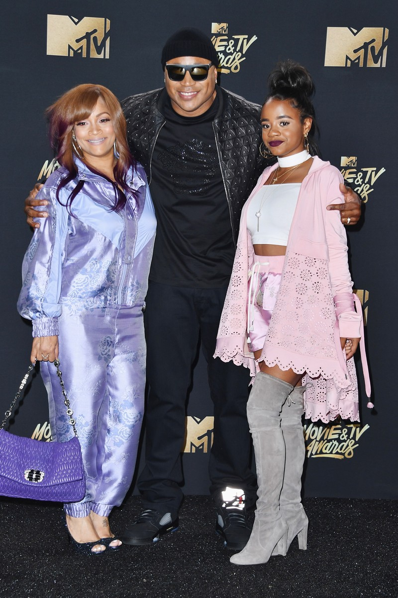 Simone Smith, LL Cool J and Nina Simone Smith attend the 2017 MTV Movie and TV Awards at The Shrine Auditorium on May 7, 2017 in Los Angeles.