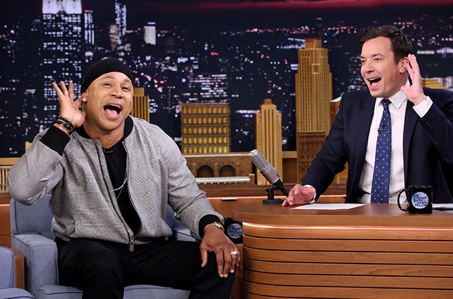 LL Cool J during an interview with host Jimmy Fallon on The Tonight Show Starring Jimmy Fallon