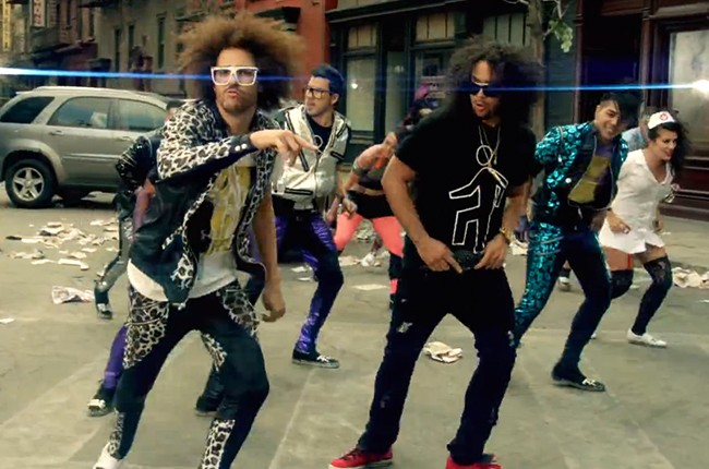 """Redfoo and SkyBlu in the """"Party Rock Anthem"""" music video."""