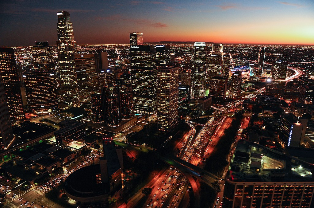 Aerial view of the downtown Los Angeles skyline.