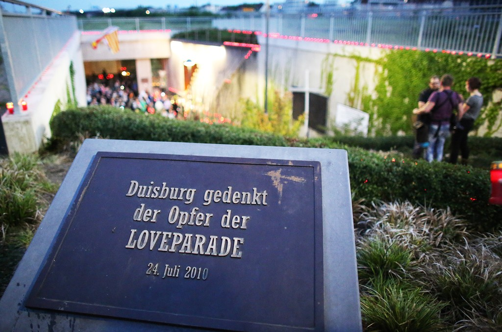 A memorial plate for the victims of the 2010 Love Parade disaster is pictured at the accident site on July 23, 2015 in Duisburg, western Germany.