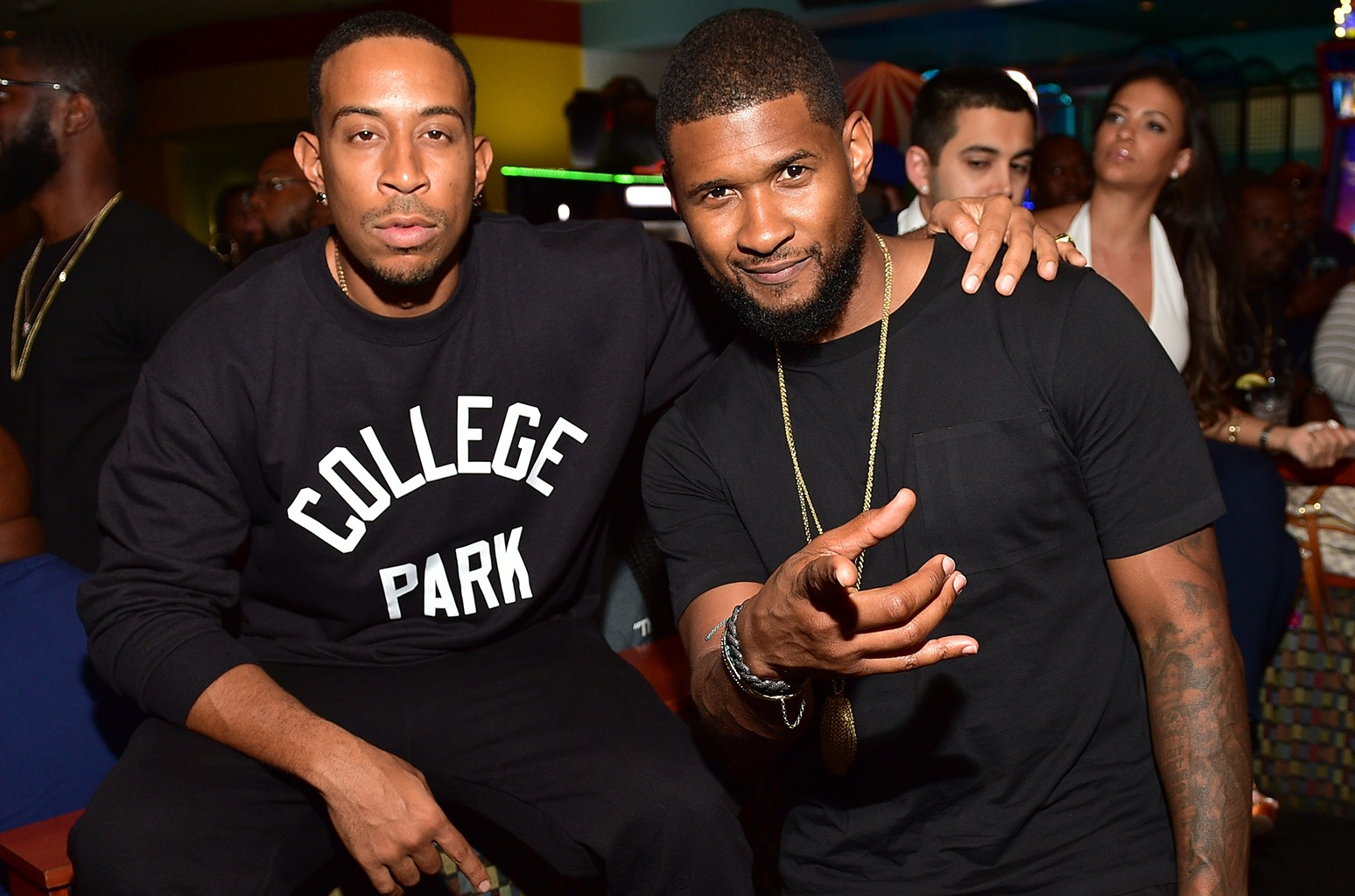 Ludacris and Usher at Bowlmor lanes on Sept. 3, 2015 in Atlanta.