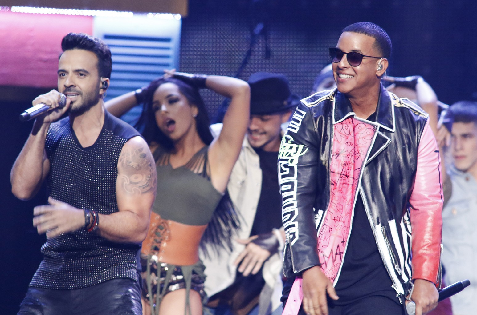Luis Fonsi and Daddy Yankee perform at the University of Miami on April 27, 2017.