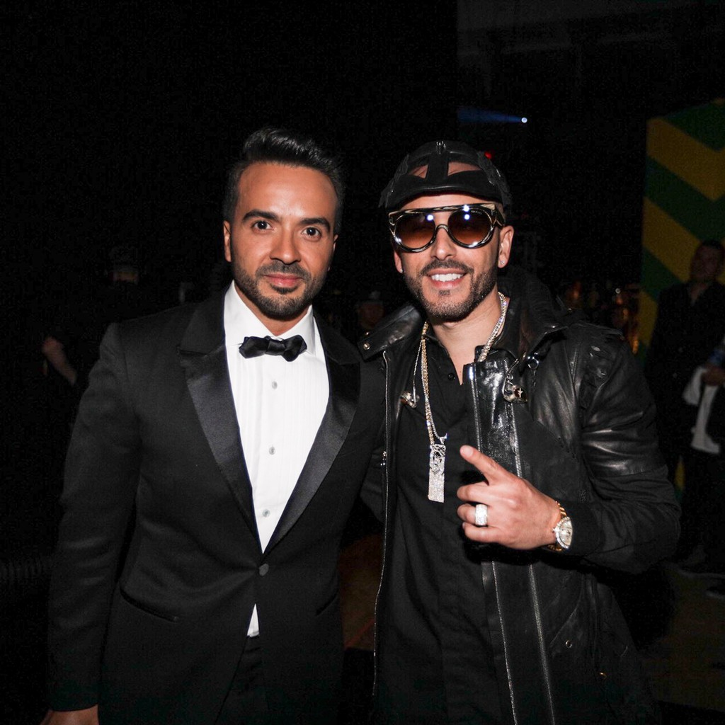 Luis Fonsi and Yandel backstage at the Billboard Latin Music Awards on April 27, 2017 in Coral Gables, Fla.