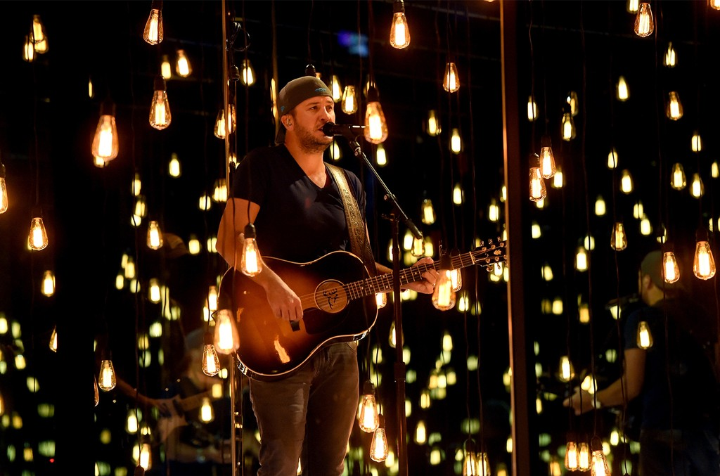 Luke Bryan rehearses onstage during for the 52nd Academy Of Country Music Awards at T-Mobile Arena on April 1, 2017 in Las Vegas.