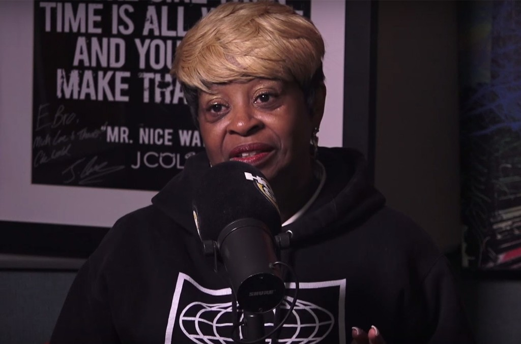 Ma Dukes during and interview with Hot 97