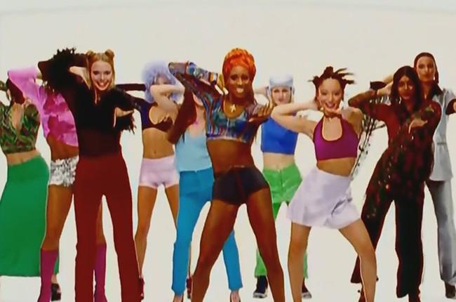 "A still from Los Del Rio's 1996 music video for ""Macarena."""