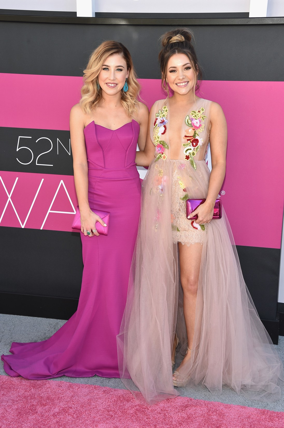 Maddie Marlow (L) and Taylor 'Tae' Dye of music group Maddie & Tae attend the 52nd Academy Of Country Music Awards at Toshiba Plaza on April 2, 2017 in Las Vegas.