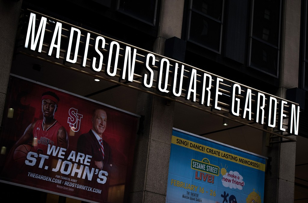 Signage is displayed on the exterior of the Madison Square Garden in New York City on Jan. 31, 2017.