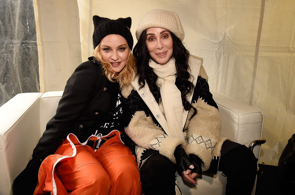 Madonna (L) and Cher attend the rally at the Women's March on Washington on January 21, 2017 in Washington, DC.  (Photo by Kevin Mazur/WireImage)