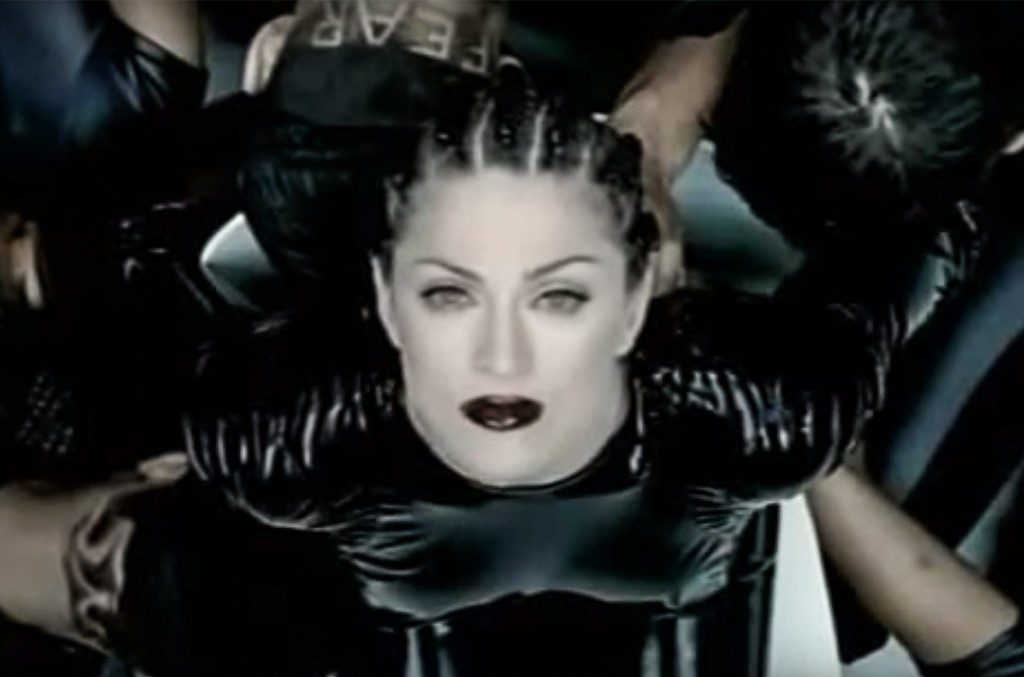 "Madonna in the video for ""Human Nature."""