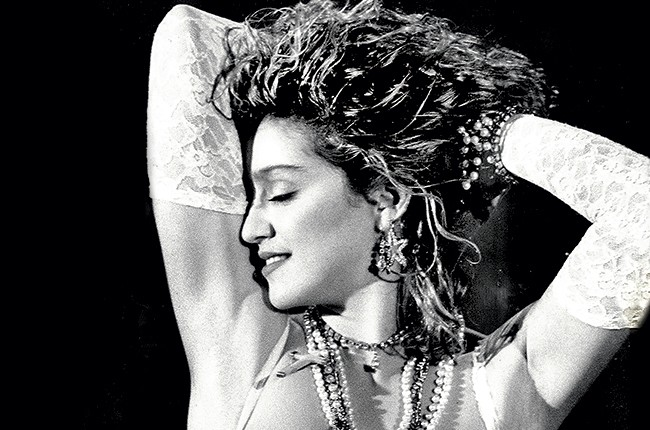 Madonna performing in 1984.