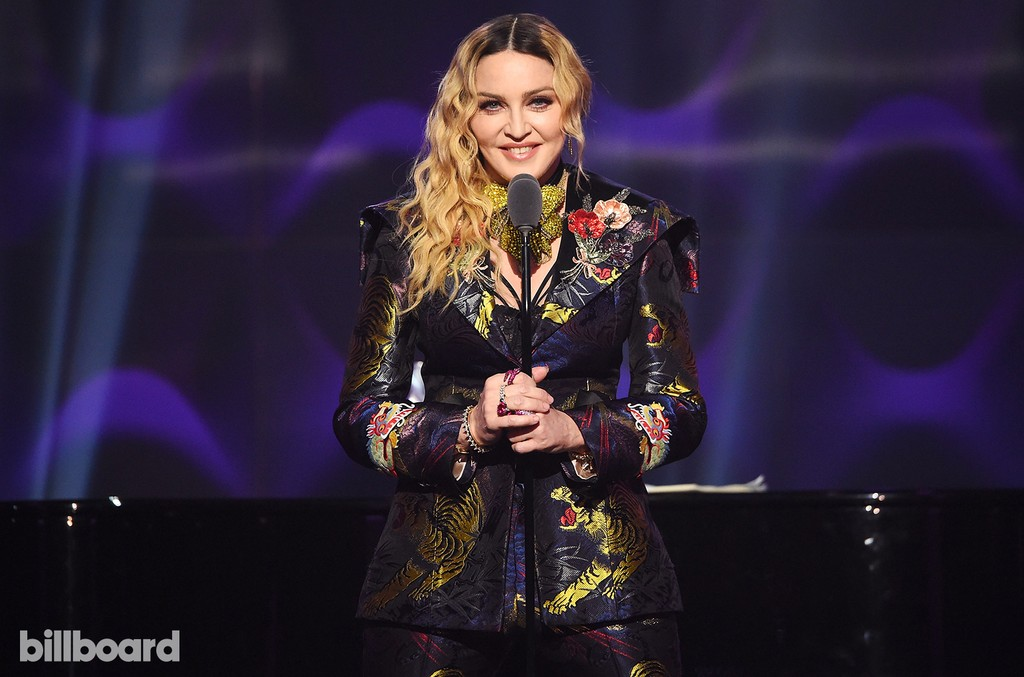 Madonna speaks on stage at the Billboard Women in Music 2016 event on Dec. 9, 2016 in New York City.