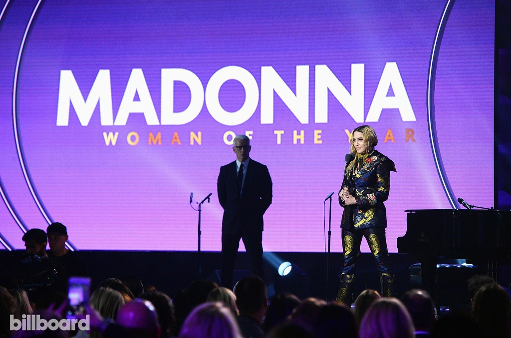 Madonna accepts an award onstage during the Billboard Women in Music 2016 event on Dec. 9, 2016 in New York City.