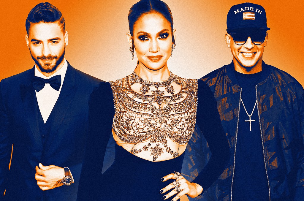 From left: Maluma, Jennifer Lopez & Daddy Yankee