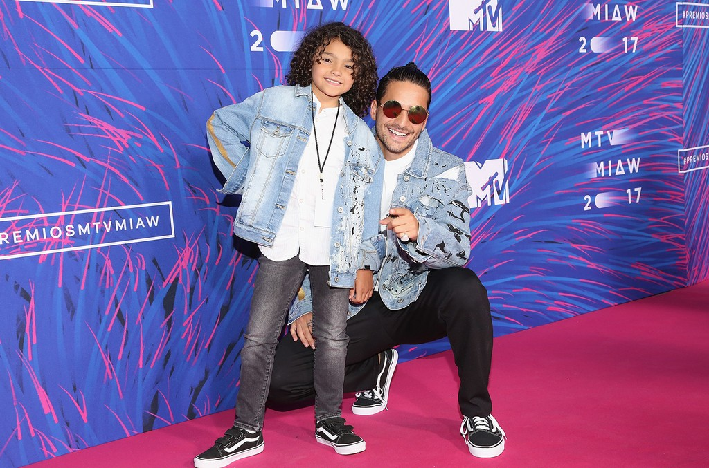 Maluma (R) and guest attend the MTV MIAW Awards 2017 at Palacio de Los Deportes on June 3, 2017 in Mexico City, Mexico.
