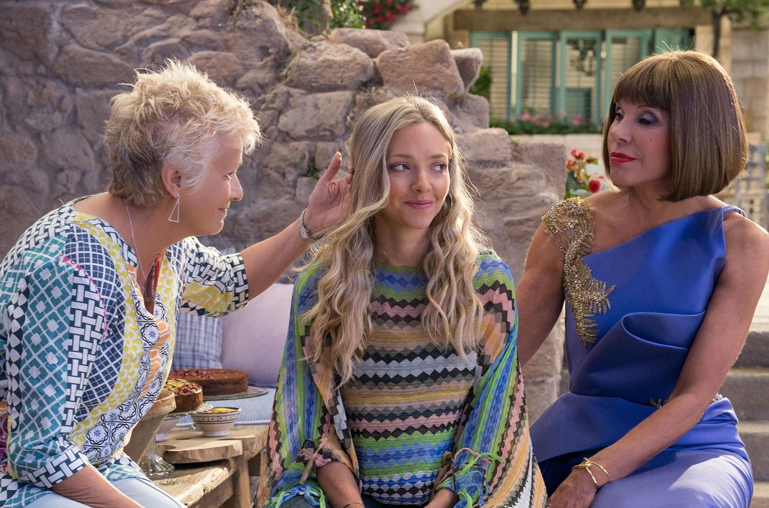 L - R: 'Mamma Mia! Here We Go Again' stars Christine Baranski, Amanda Seyfried and Julie Walters