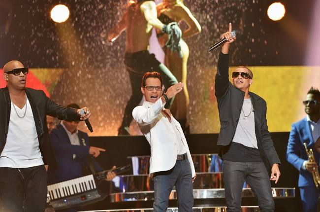 Marc Anthony and Gente de Zona performs onstage at the 2015 Billboard Latin Music Awards