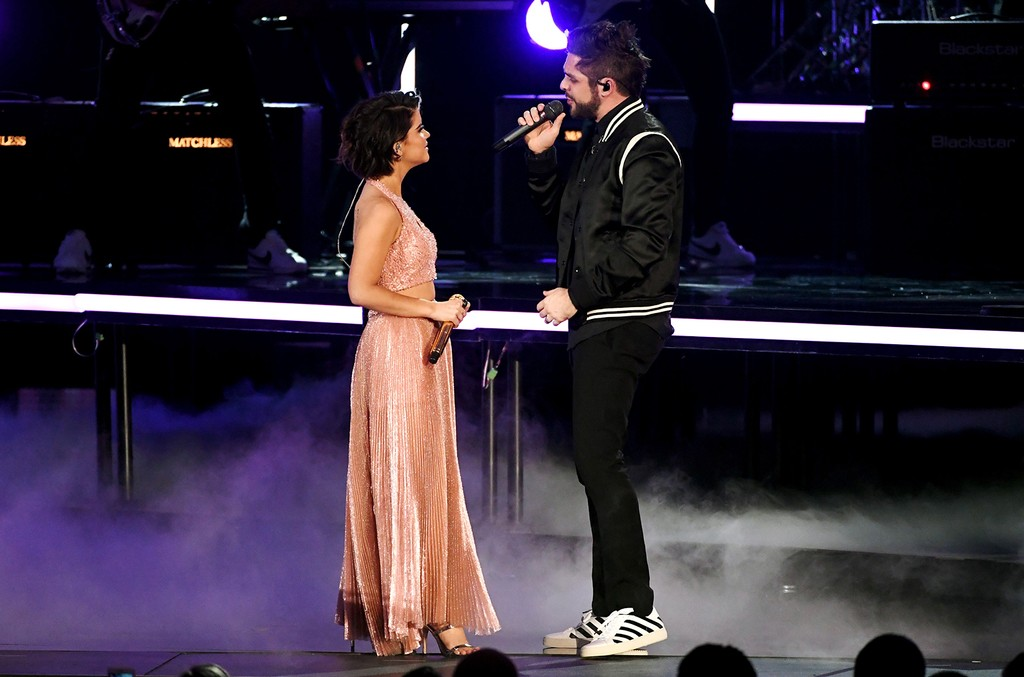 Maren Morris and Thomas Rhett perform onstage during the 52nd Academy Of Country Music Awards at T-Mobile Arena on April 2, 2017 in Las Vegas.