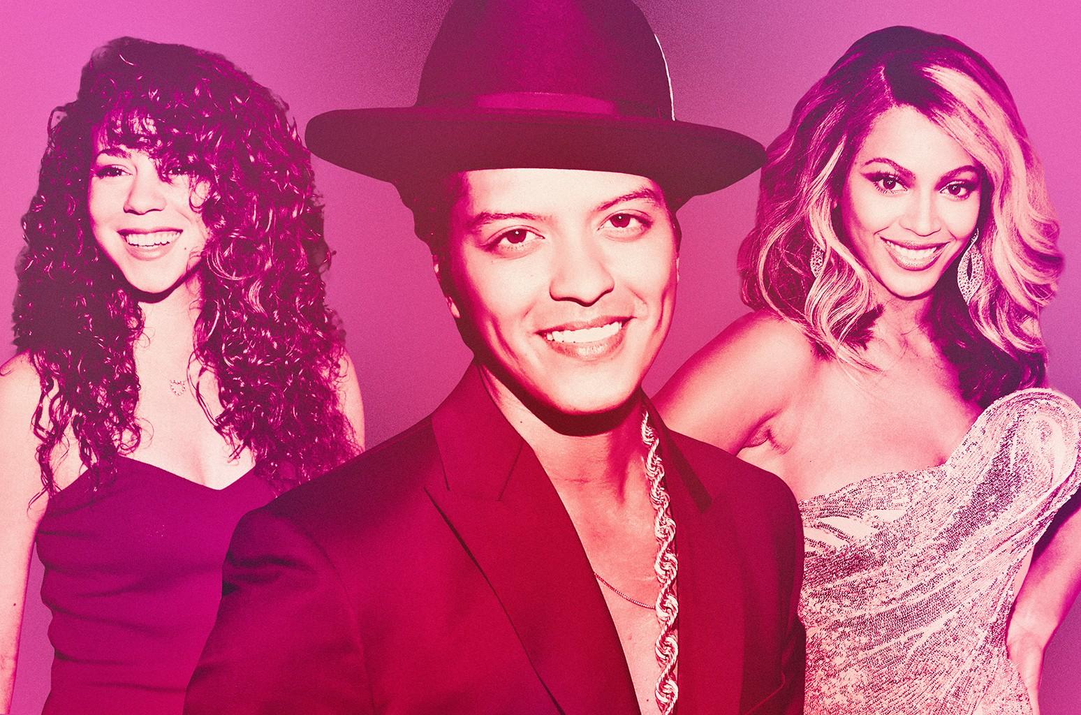 From left: Mariah Carey, Bruno Mars & Beyoncé
