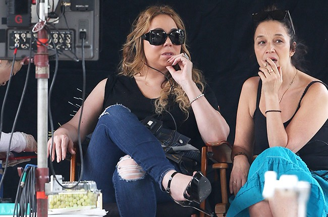Mariah Carey on set directing her first movie the Christmas Melody