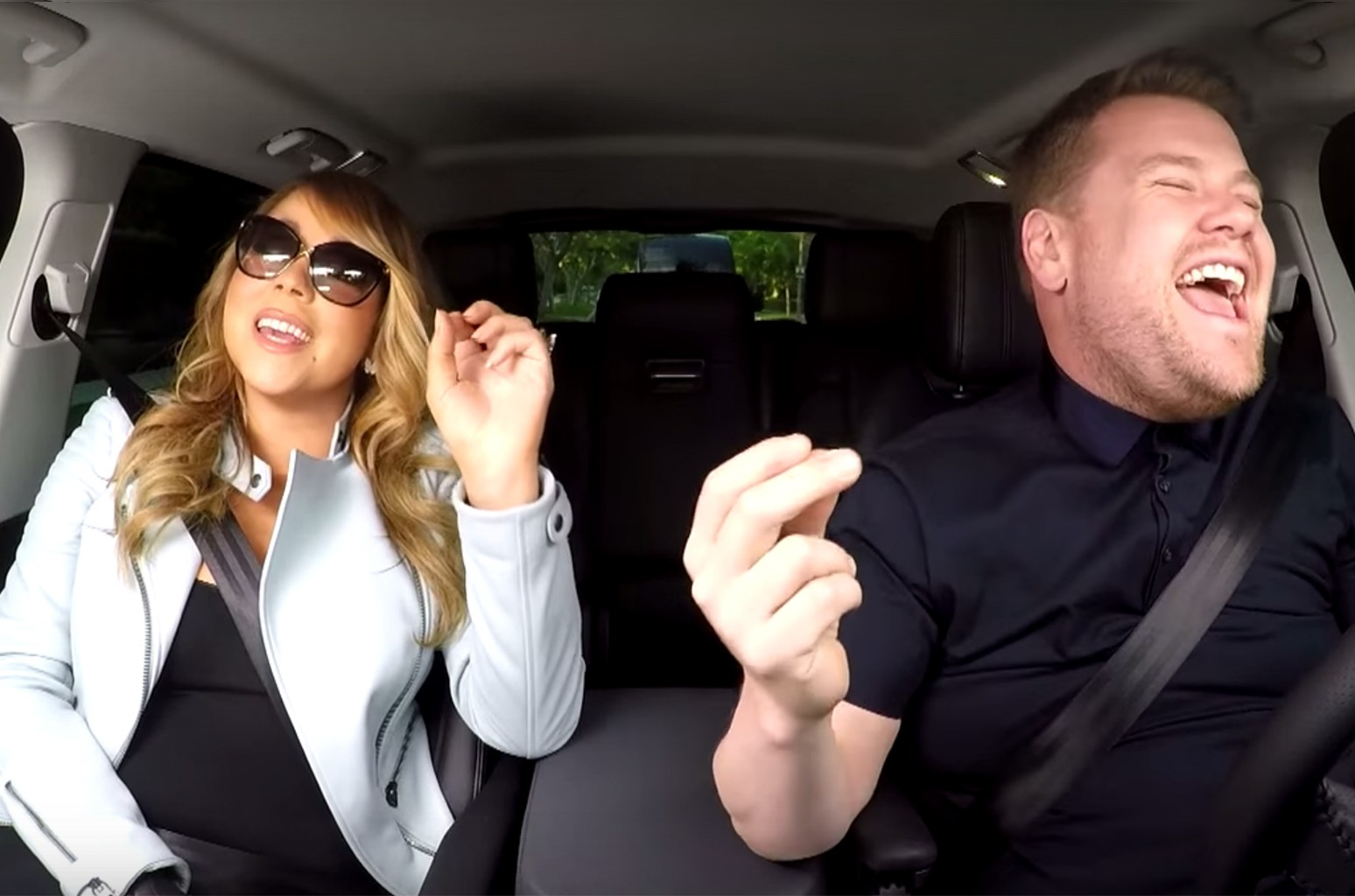 Mariah Carey and James Corden during Carpool Karaoke