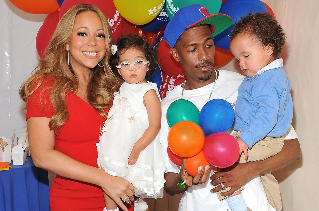 Mariah Carey and Nick Cannon photographed with their twins Monroe Cannon and Moroccan Scott Cannon at Santa Monica Pier on Oct. 6, 2012 in Santa Monica, Calif.