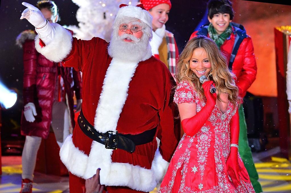 Mariah Carey performs during the Christmas tree lighting
