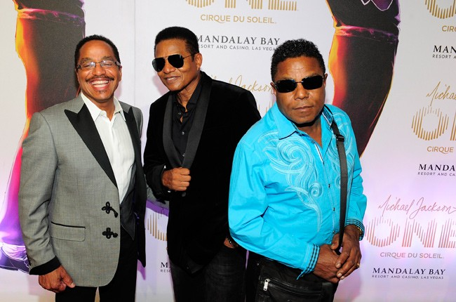 Marlon, Tito and Jackie Jackson at the premiere of 'Michael Jackson ONE' in Las Vegas 2013.