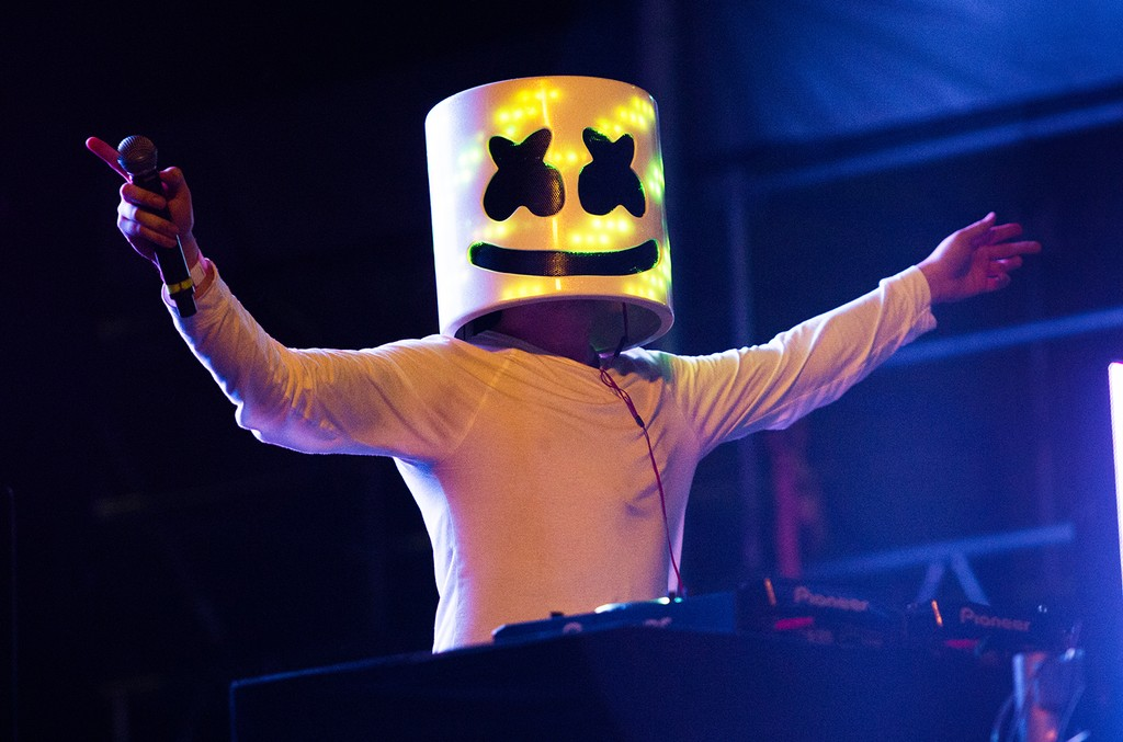 Marshmello performs at the 2016 Billboard Hot 100 Music Festival