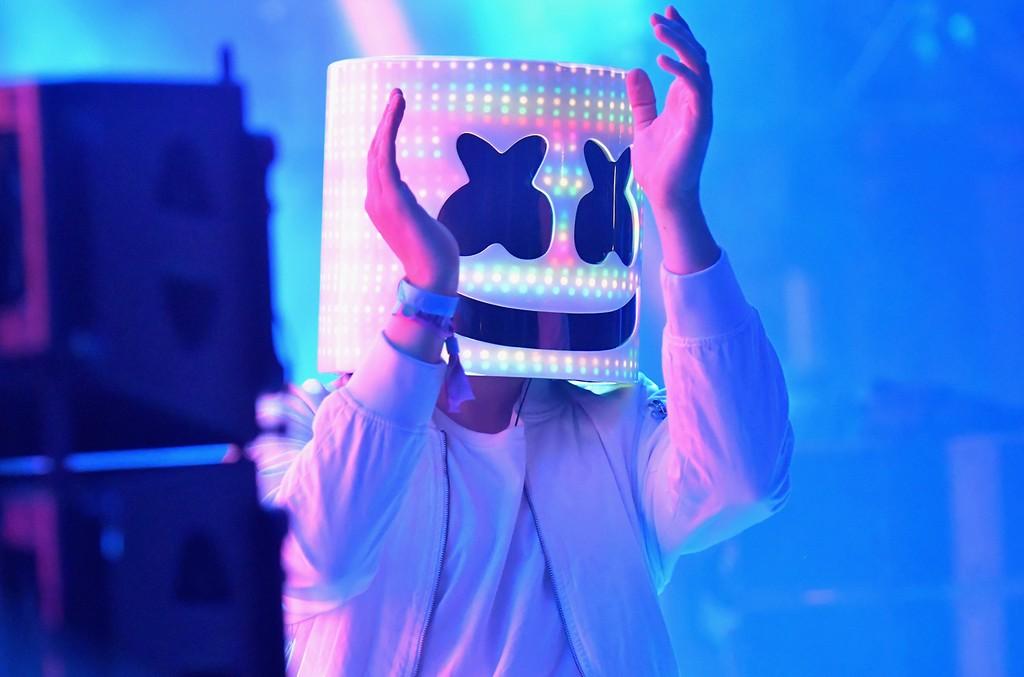 Marshmello performs at Bonnaroo, 2017