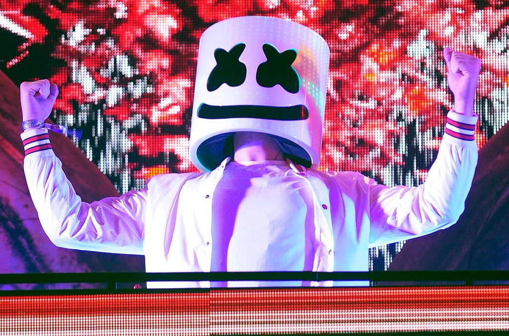 Marshmello performs during the 21st annual Electric Daisy Carnival at Las Vegas Motor Speedway on June 18, 2017 in Las Vegas.