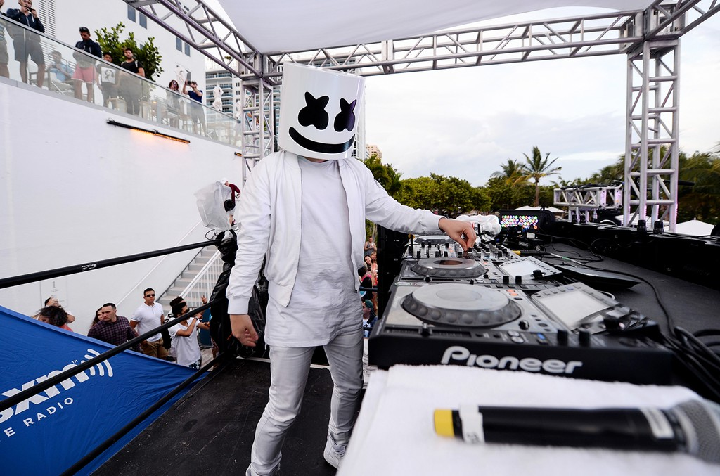 Marshmello performs at the SiriusXM Music Lounge at 1 Hotel South Beach on March 23, 2017 in Miami.