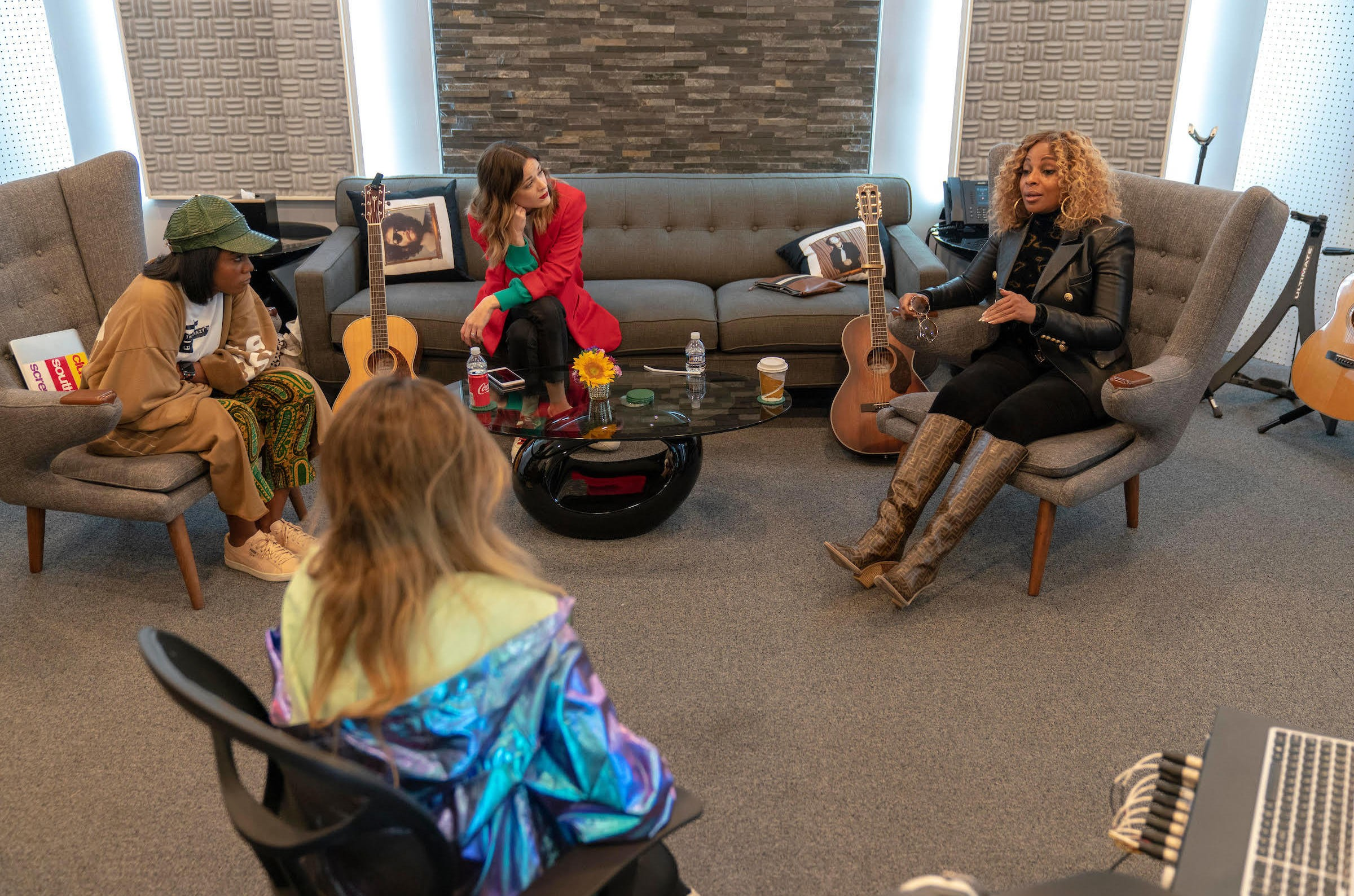 Mary J. Blige, right, collaborates with fellow songwriters, Ingrid Burley, left, and Jillian Jacqueline, center, during ASCAP's song camp in partnership with She is the Music in Nashville.
