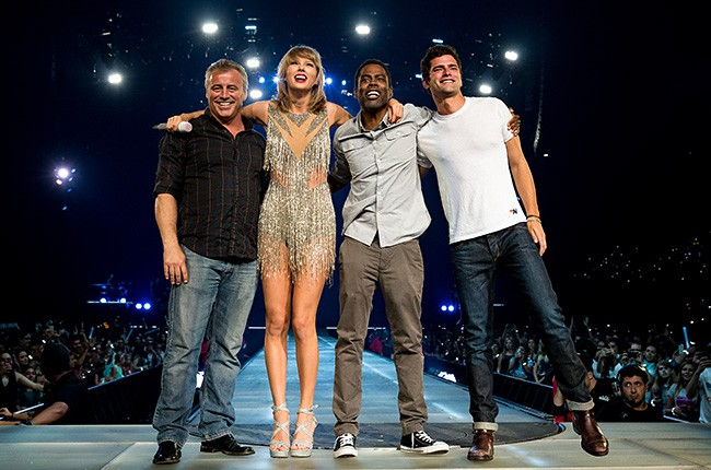 Matt Leblanc, Taylor Swift, Chris Rock and Sean O'Pry perform during Taylor Swift The 1989 World Tour Live