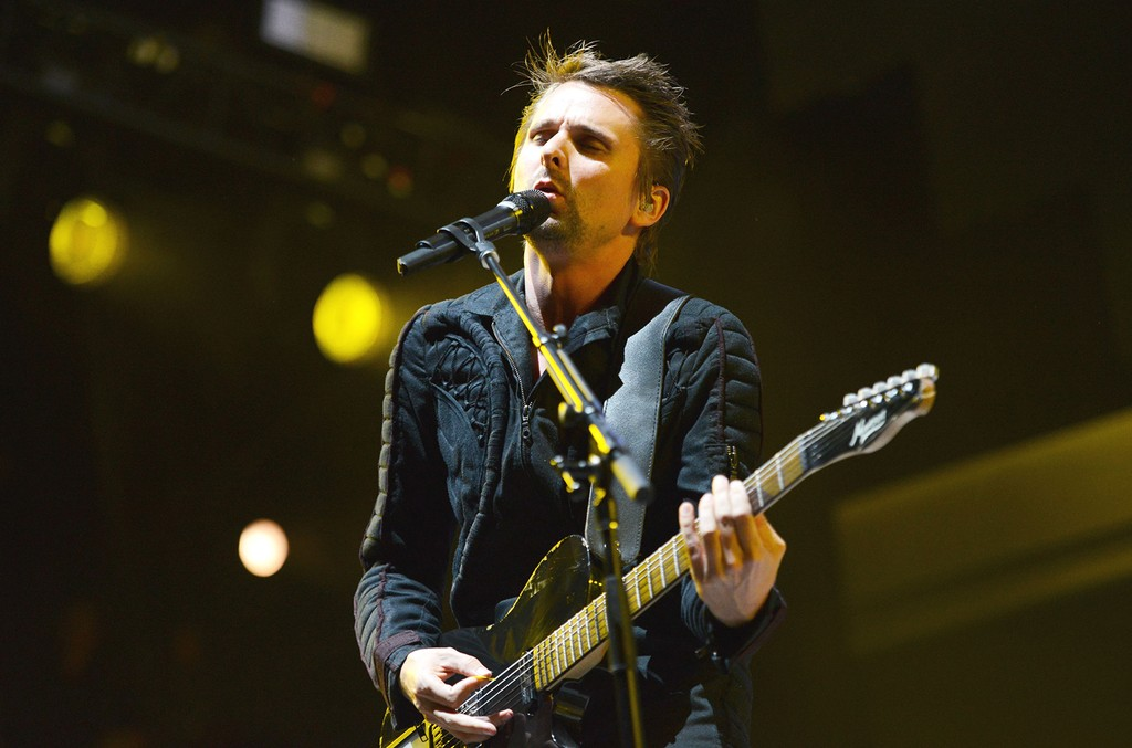 Matthew Bellamy of Muse performs onstage at Irvine Meadows Amphitheatre on May 16, 2015 in Irvine, Calif.