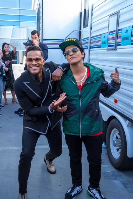 Maxwell and Bruno Mars backstage during the BET Awards on June 25, 2017 in Los Angeles.