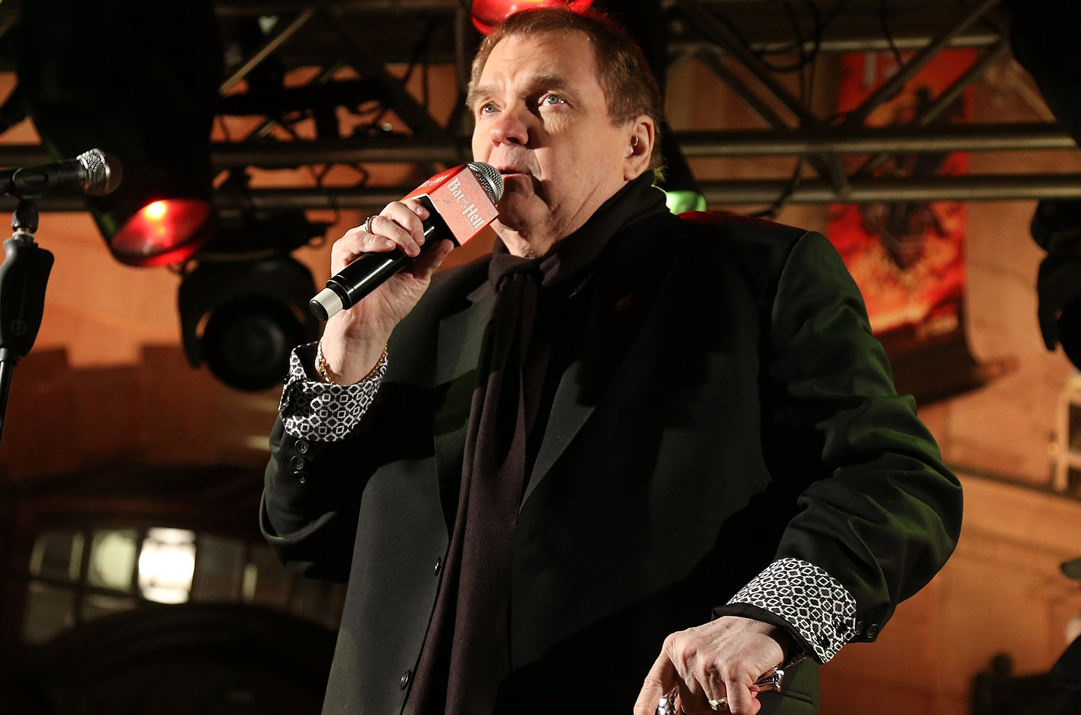 Meat Loaf speaks to the crowd at the launch for Jim Steinman's 'Bat Out of Hell The Musical' at the London Coliseum on St Martin's Lane on Nov. 3, 2016 in London.