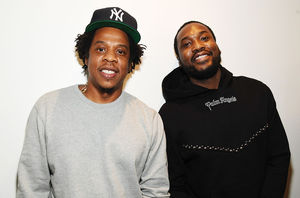 """Shawn """"Jay-Z"""" Carter (L) and Meek Mill attend the launch of The Reform Alliance at John Jay College on Jan. 23, 2019 in New York City."""