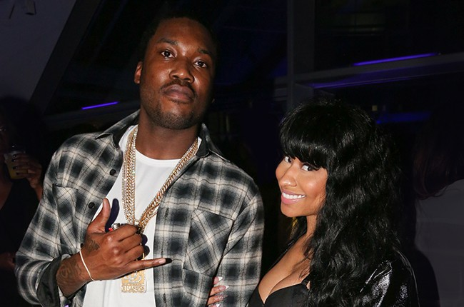 Meek Mill and Nicki Minaj attend Meek Mill Official Grammy Party on February 8, 2015