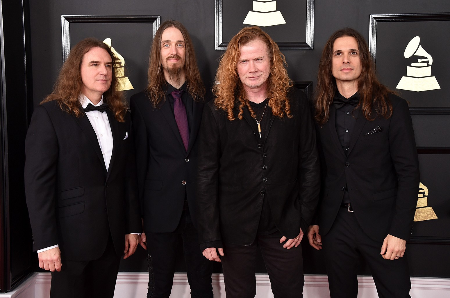 David Ellefson, Dirk Verbeuren, Dave Mustaine, and Kiko Loureiro of music group Megadeth attend The 59th Grammy Awards at Staples Center on Feb. 12, 2017 in Los Angeles.