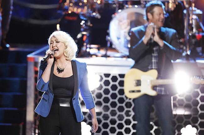 Meghan Linsey and Blake Shelton perform on the live finals of NBC's The Voice