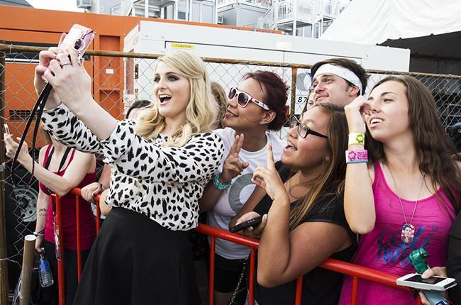 Meghan Trainor backstage at iHeartRadio 2014