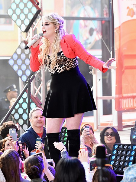 """Meghan Trainor performs on NBC's """"Today"""" at the Rockefeller Center on May 22, 2015 in New York, New York."""
