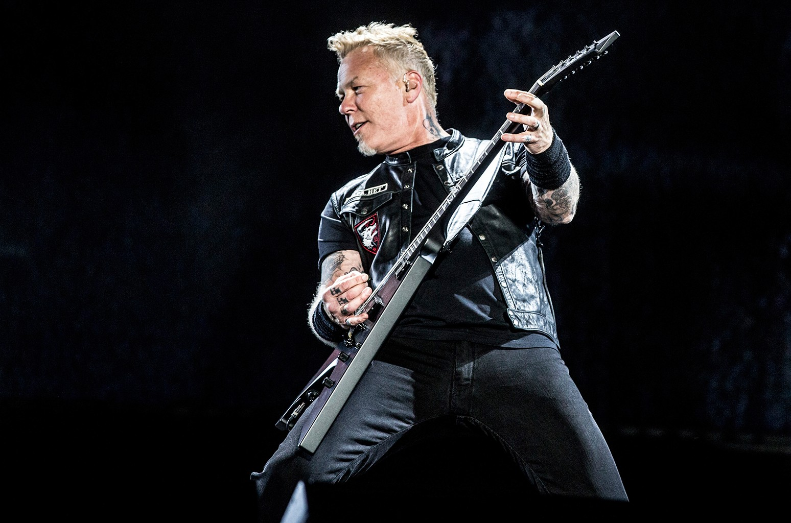 James Hetfield singer of Metallica performs on stage during day 1 of Lollapalooza Argentina at Hipodromo de San Isidro on March 31, 2017 in San Isidro, Argentina.